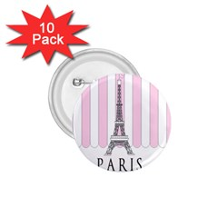 Pink Paris Eiffel Tower Stripes France 1 75  Buttons (10 Pack) by Mariart