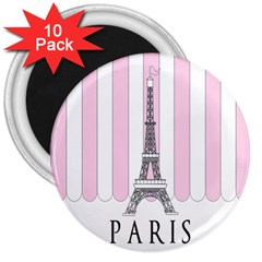 Pink Paris Eiffel Tower Stripes France 3  Magnets (10 Pack)  by Mariart