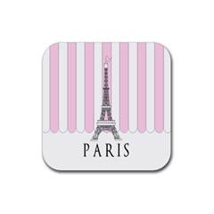 Pink Paris Eiffel Tower Stripes France Rubber Square Coaster (4 Pack)  by Mariart