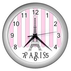 Pink Paris Eiffel Tower Stripes France Wall Clocks (silver)  by Mariart