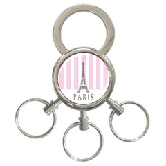 Pink Paris Eiffel Tower Stripes France 3 Ring Key Chains by Mariart