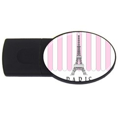 Pink Paris Eiffel Tower Stripes France Usb Flash Drive Oval (4 Gb) by Mariart