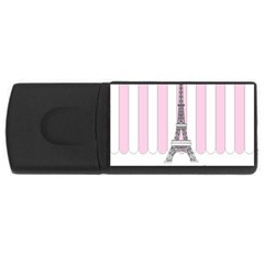 Pink Paris Eiffel Tower Stripes France Usb Flash Drive Rectangular (4 Gb) by Mariart