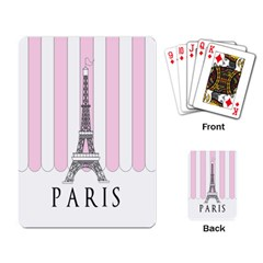 Pink Paris Eiffel Tower Stripes France Playing Card by Mariart