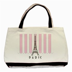 Pink Paris Eiffel Tower Stripes France Basic Tote Bag by Mariart
