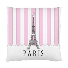 Pink Paris Eiffel Tower Stripes France Standard Cushion Case (two Sides) by Mariart