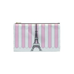 Pink Paris Eiffel Tower Stripes France Cosmetic Bag (small)  by Mariart