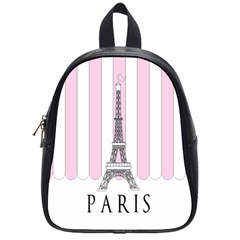 Pink Paris Eiffel Tower Stripes France School Bags (small)  by Mariart