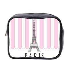 Pink Paris Eiffel Tower Stripes France Mini Toiletries Bag 2 Side by Mariart