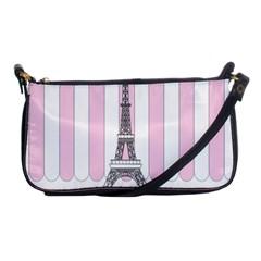 Pink Paris Eiffel Tower Stripes France Shoulder Clutch Bags by Mariart