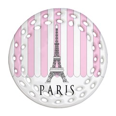Pink Paris Eiffel Tower Stripes France Round Filigree Ornament (two Sides) by Mariart