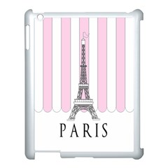Pink Paris Eiffel Tower Stripes France Apple Ipad 3/4 Case (white) by Mariart
