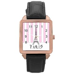 Pink Paris Eiffel Tower Stripes France Rose Gold Leather Watch  by Mariart