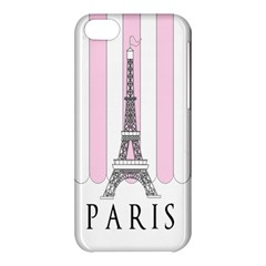 Pink Paris Eiffel Tower Stripes France Apple Iphone 5c Hardshell Case by Mariart