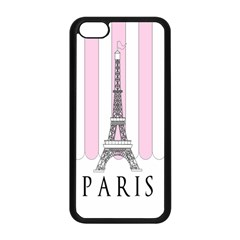 Pink Paris Eiffel Tower Stripes France Apple Iphone 5c Seamless Case (black) by Mariart
