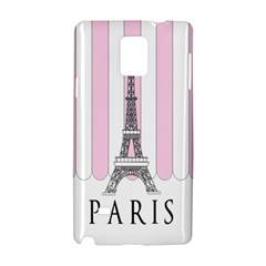 Pink Paris Eiffel Tower Stripes France Samsung Galaxy Note 4 Hardshell Case by Mariart