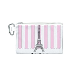 Pink Paris Eiffel Tower Stripes France Canvas Cosmetic Bag (s) by Mariart