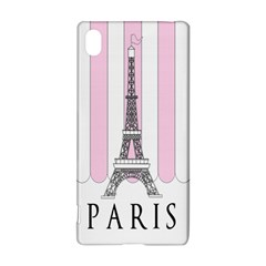 Pink Paris Eiffel Tower Stripes France Sony Xperia Z3+ by Mariart