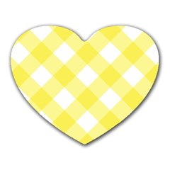 Plaid Chevron Yellow White Wave Heart Mousepads by Mariart