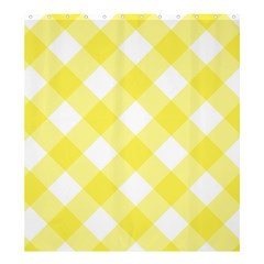 Plaid Chevron Yellow White Wave Shower Curtain 66  X 72  (large)  by Mariart