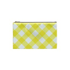 Plaid Chevron Yellow White Wave Cosmetic Bag (small)  by Mariart