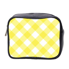 Plaid Chevron Yellow White Wave Mini Toiletries Bag 2 Side by Mariart