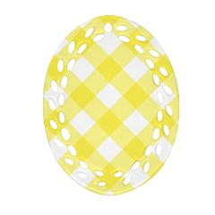Plaid Chevron Yellow White Wave Oval Filigree Ornament (two Sides) by Mariart