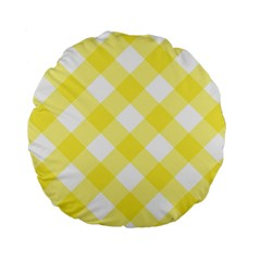 Plaid Chevron Yellow White Wave Standard 15  Premium Flano Round Cushions by Mariart