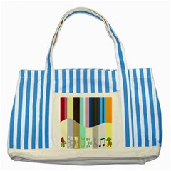 Rainbow Color Line Vertical Rose Bubble Note Carrot Striped Blue Tote Bag by Mariart