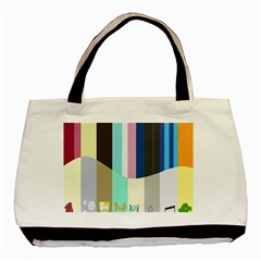 Rainbow Color Line Vertical Rose Bubble Note Carrot Basic Tote Bag (two Sides) by Mariart