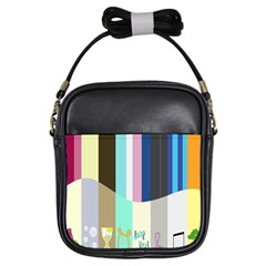 Rainbow Color Line Vertical Rose Bubble Note Carrot Girls Sling Bags by Mariart