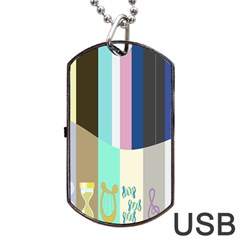 Rainbow Color Line Vertical Rose Bubble Note Carrot Dog Tag Usb Flash (one Side) by Mariart
