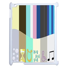 Rainbow Color Line Vertical Rose Bubble Note Carrot Apple Ipad 2 Case (white) by Mariart
