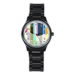 Rainbow Color Line Vertical Rose Bubble Note Carrot Stainless Steel Round Watch by Mariart