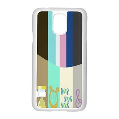 Rainbow Color Line Vertical Rose Bubble Note Carrot Samsung Galaxy S5 Case (white) by Mariart