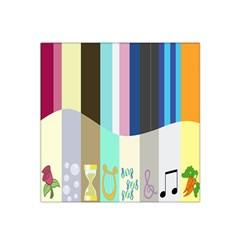 Rainbow Color Line Vertical Rose Bubble Note Carrot Satin Bandana Scarf