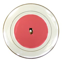 Minimalism Cat Pink Animals Porcelain Plates by Mariart