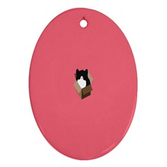 Minimalism Cat Pink Animals Oval Ornament (two Sides)