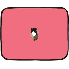 Minimalism Cat Pink Animals Fleece Blanket (mini) by Mariart