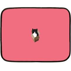 Minimalism Cat Pink Animals Double Sided Fleece Blanket (mini)