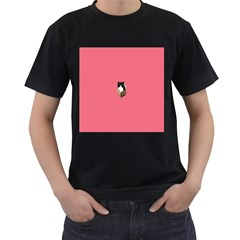 Minimalism Cat Pink Animals Men s T Shirt (black)