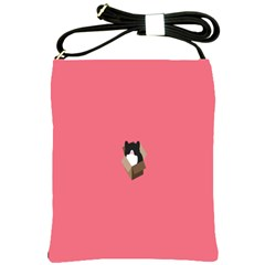 Minimalism Cat Pink Animals Shoulder Sling Bags by Mariart
