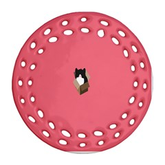 Minimalism Cat Pink Animals Ornament (round Filigree) by Mariart