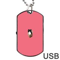 Minimalism Cat Pink Animals Dog Tag Usb Flash (one Side) by Mariart