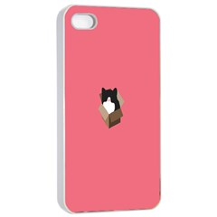 Minimalism Cat Pink Animals Apple Iphone 4/4s Seamless Case (white) by Mariart