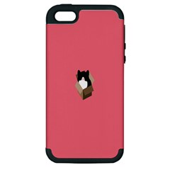 Minimalism Cat Pink Animals Apple Iphone 5 Hardshell Case (pc+silicone) by Mariart