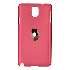 Minimalism Cat Pink Animals Samsung Galaxy Note 3 N9005 Hardshell Case by Mariart