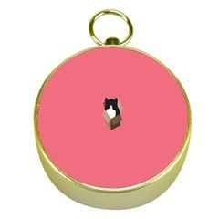 Minimalism Cat Pink Animals Gold Compasses