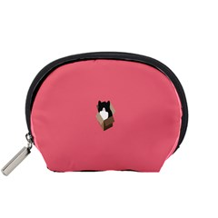 Minimalism Cat Pink Animals Accessory Pouches (small)