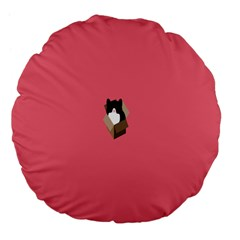 Minimalism Cat Pink Animals Large 18  Premium Flano Round Cushions